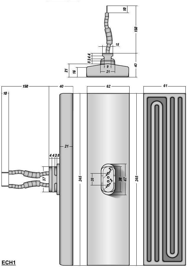 Керамический инфракрасный излучатель ECH1 чертеж