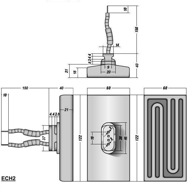 Керамический инфракрасный излучатель ECH2 чертеж