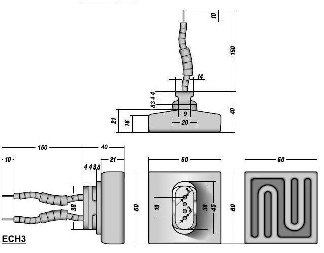Керамический инфракрасный излучатель ECH3 чертеж