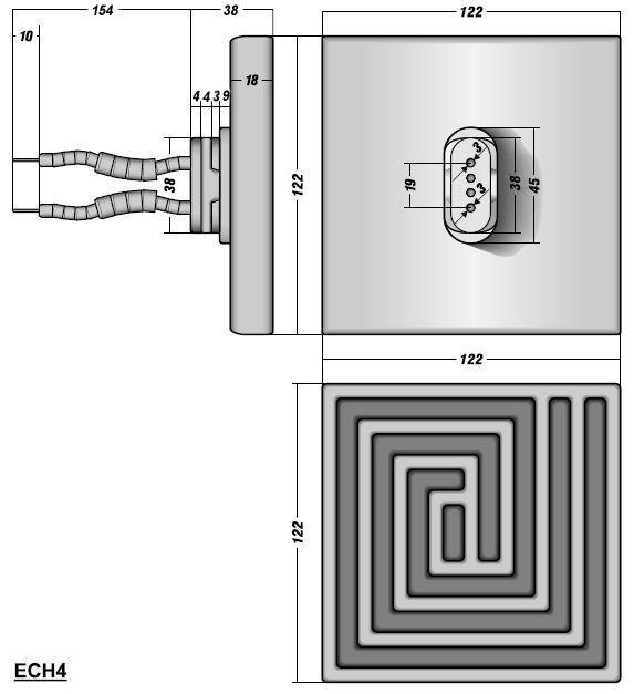 Керамический инфракрасный излучатель ECH4 чертеж