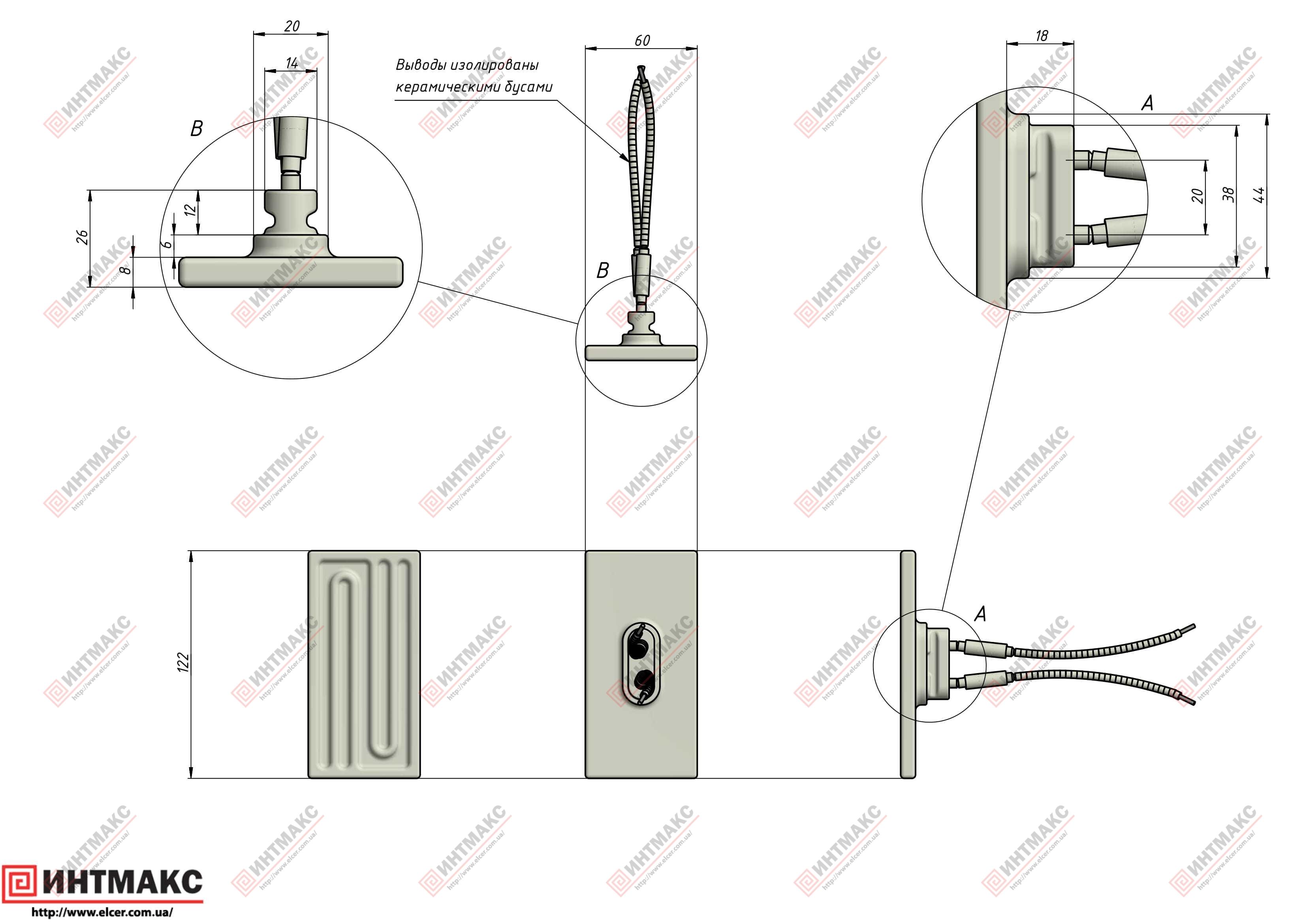 Керамический инфракрасный излучатель ECS2 чертеж