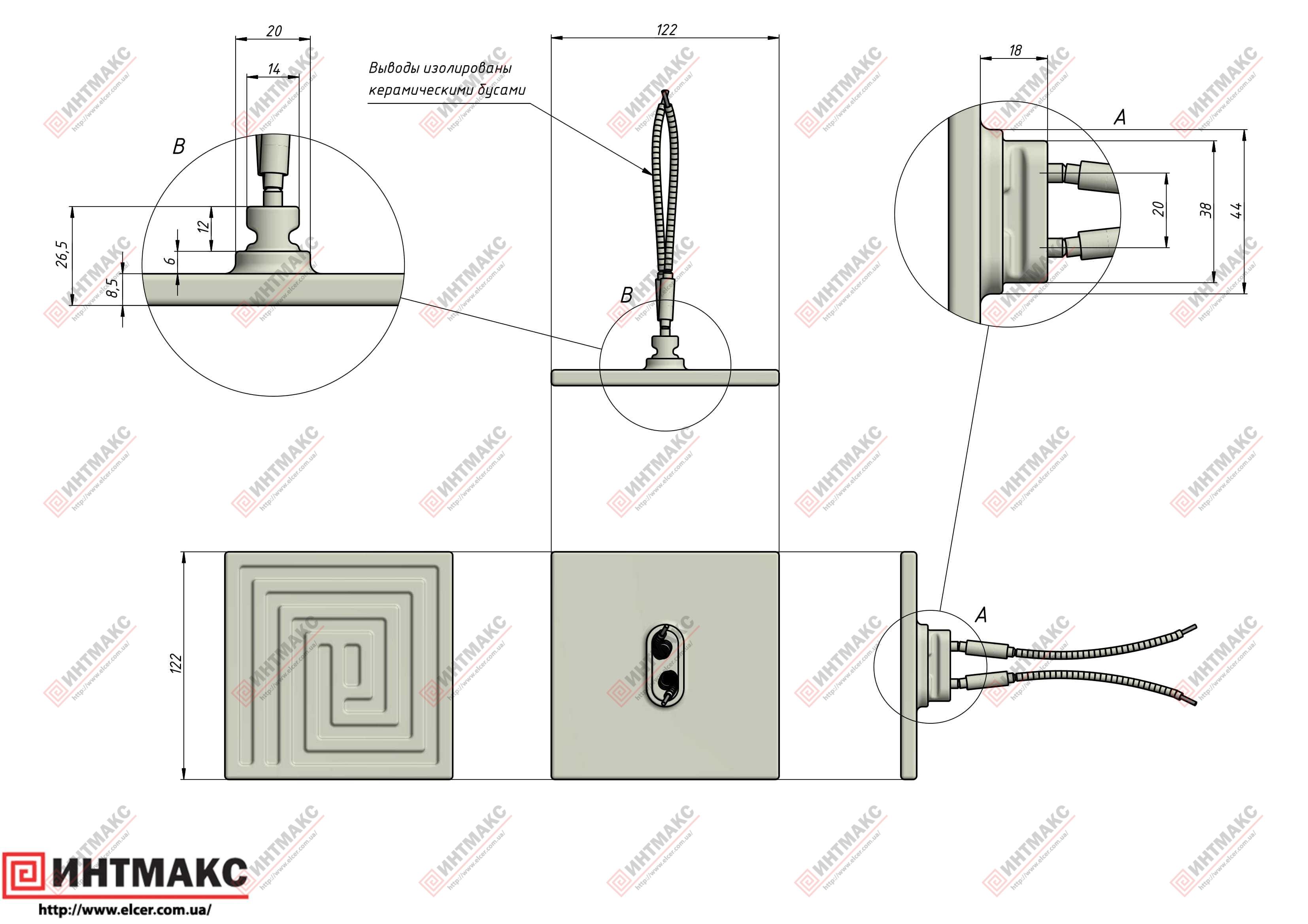Керамический инфракрасный излучатель ECS3 чертеж